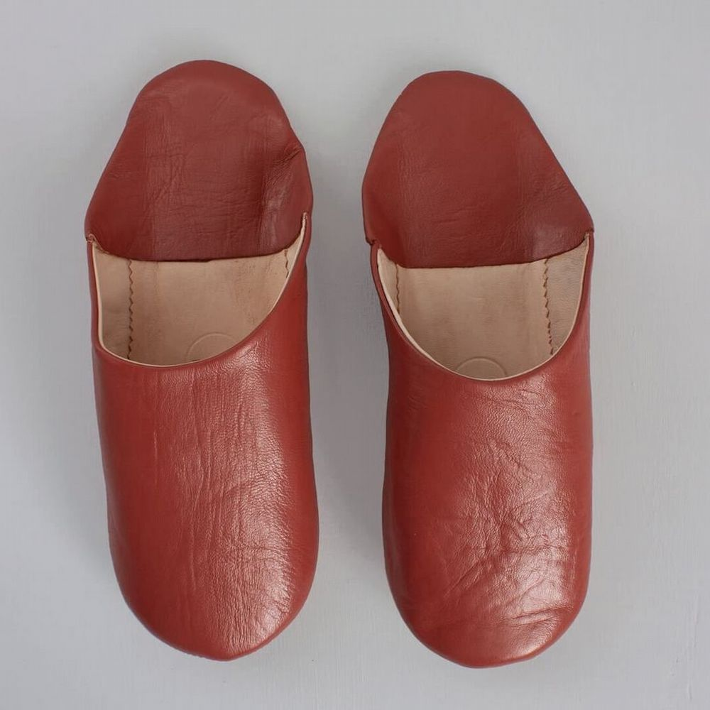 Men's Slippers - Leather Mules - Terracotta